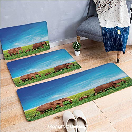 3 Piece Anti-Skid mat for Bathroom Rug Dining Room Home Bedroom,Elephant,Elephant Family Walking by The Grass African Savannah Sky Landscape Safari Decor,Green Brown Blue,16x24/18x53/20x59 inch