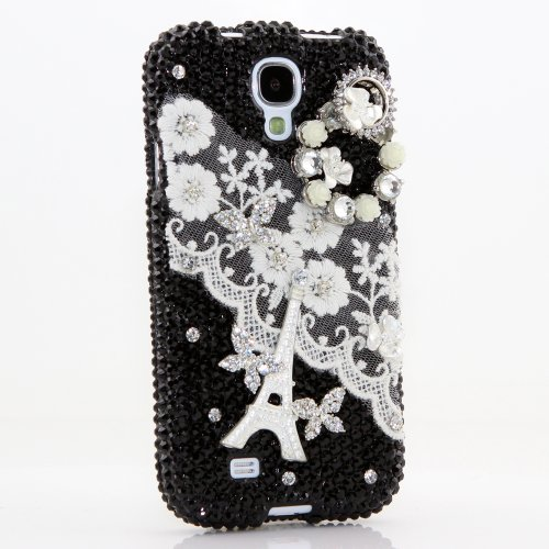 Samsung Galaxy S4 I9500 Luxury 3d Bling Case - Elegant Audrey Paris Eiffel Tower Black Design - Swarovski Crystal Diamond Sparkle Girly Protective Cover Faceplate (100% Handcrafted By Star33mall)