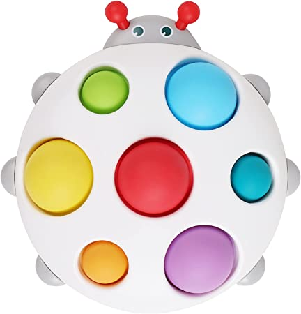 DOLIVE Baby Simple Dimple Fidget Toy Silicone Flipping Ladybird Board Early Educational Autism ADHD Kids Sensory Toy Stress Relief Handy Toys, Gifts for 6M+ 12M 18M Toddlers 2 3 4 Year Old Boys Girls