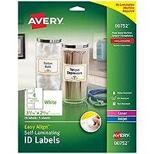 "Avery Professional Grade Self-Laminating Water Resistant ID Labels,3-5/16"" x 2-5/16"", 20 Pk (00752)"
