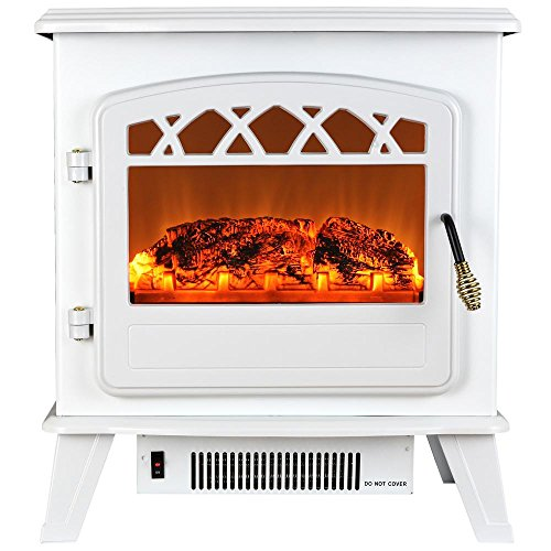 AKDY 20 in. Freestanding Electric Fireplace Stove Heater in White with Vintage (Kerosene Propane Heaters)
