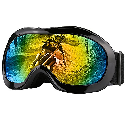 Zdatt Double Lens Youth ATV Goggles Helmet Motorcycle Dirtbike Off Road Goggle UV Protection Kids Ski Goggles (Black) (Kids Youth Motorcycle)