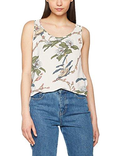 Only Onlnova Aop S/L Top Wvn, Camiseta sin Mangas para Mujer Blanco (Cloud Dancer Aop:august Flower Comb 2)