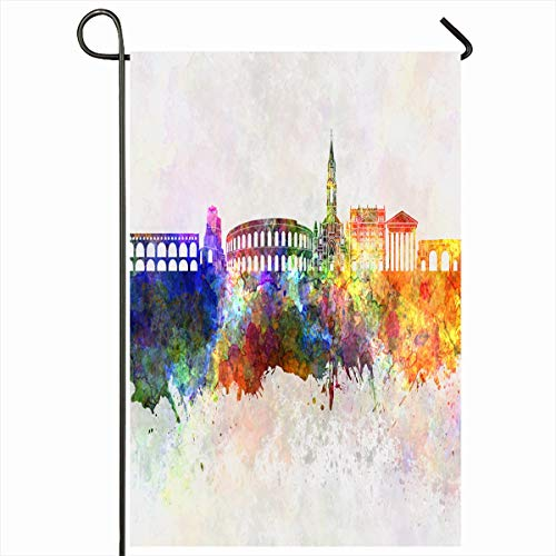 Ahawoso Outdoor Garden Flag 12x18 Inches Europe Art Nimes Skyline Watercolor Abstract Bright Cityscape Color Creativity Splatter Seasonal Double Sides Home Decorative House Yard Sign