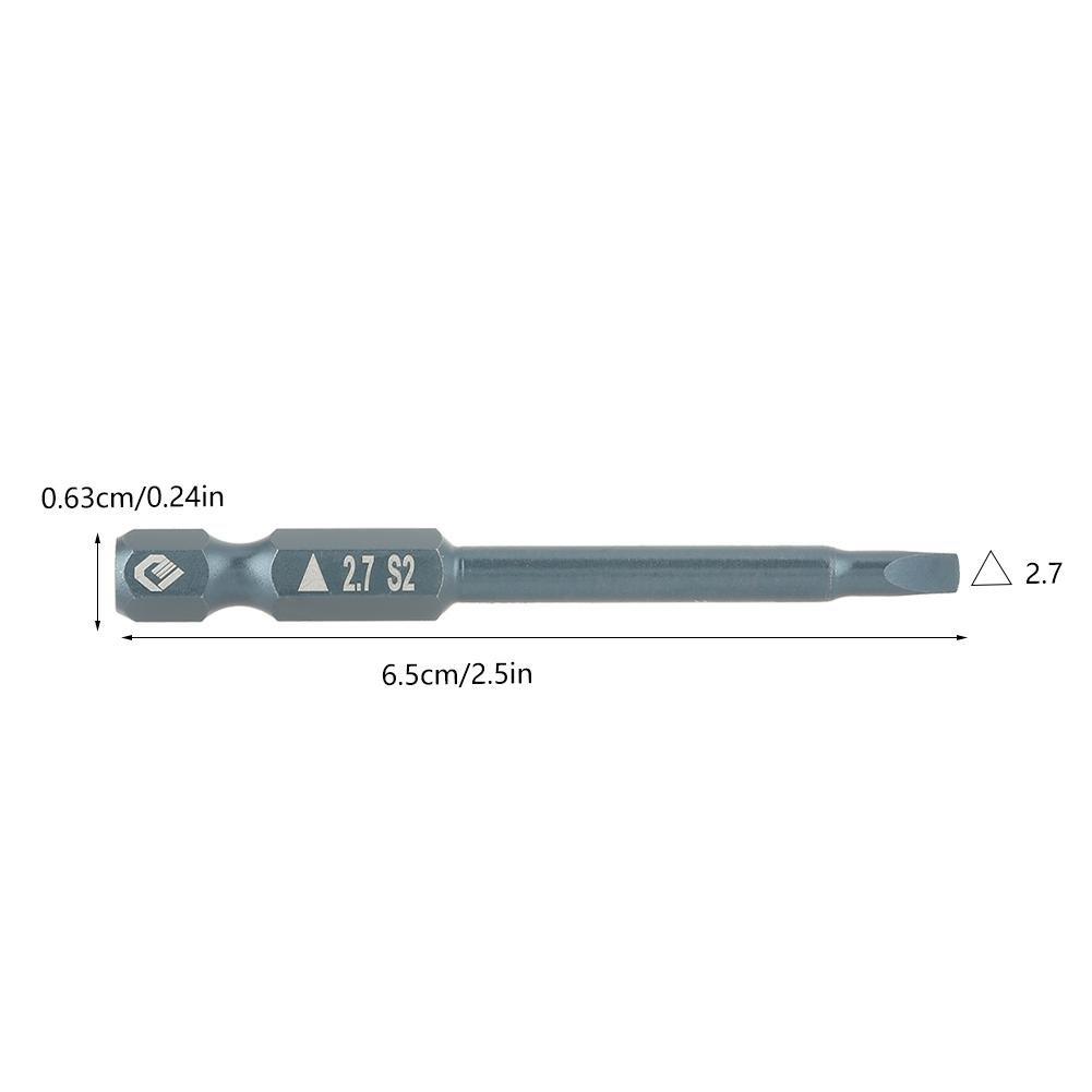 2.7 65mm 1//4 Queue 65mm en Acier Alli/é S2 Jeu dEmbouts de Tournevis /à T/ête Triangulaire H6.3 10pcs Embouts de Tournevis Triangulaires