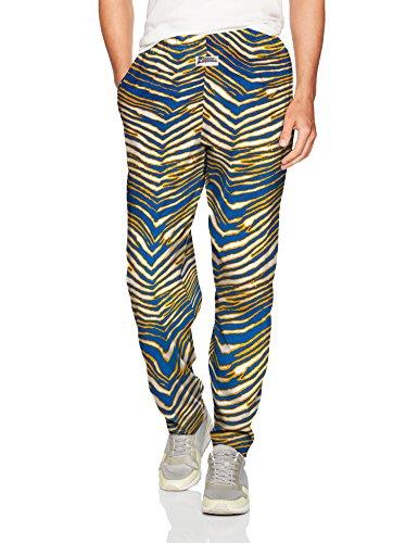 Zubaz Men's Standard Classic Zebra Printed Athletic Lounge Pants, Royal/Gold, XL]()