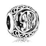 Everbling Vintage Letter P Clear CZ 925 Sterling Silver Bead Fits Pandora Charm Bracelet