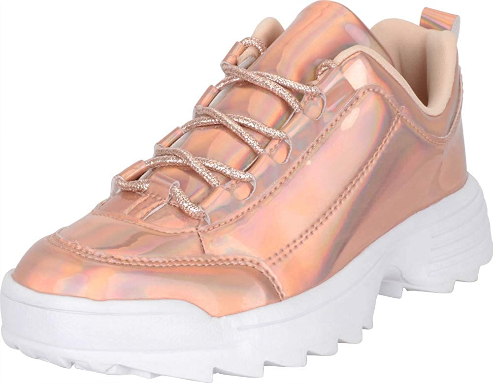 pink gold Cambridge Select Women's Low Top 90s Ugly Dad Iridescent Holographic Lace-Up Chunky Fashion Sneaker