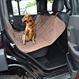 Pettom Waterproof Hammock Pet Seat Cover Protector for Rear Back Bench Seat Deluxe Non-Slip Backing with Seat Anchors Fits Cars Trucks Veichle SUV (Brown Bench Seat Cover 56