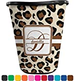 RNK Shops Leopard Print Waste Basket - Single Sided (Black) (Personalized)