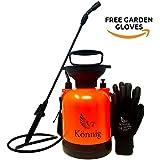 Könnig 1 Gallon/4L Lawn, Yard and Garden Pressure Sprayer For Chemicals, Fertilizer, Herbicides and Pesticides with FREE Pair of Garden Gloves