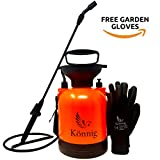 Könnig 1 Gallon/4L Lawn, Yard and Garden Pressure Sprayer For Chemicals, Fertilizer, Herbicides and Pesticides with FREE Pair of Garden Gloves
