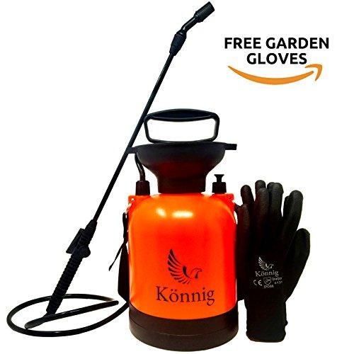 Könnig 0.8 Gallon Lawn, Yard and Garden Pressure Sprayer For Chemicals, Fertilizer, Herbicides and Pesticides with FREE Pair of Garden Gloves (0.8 Gallon) by Könnig