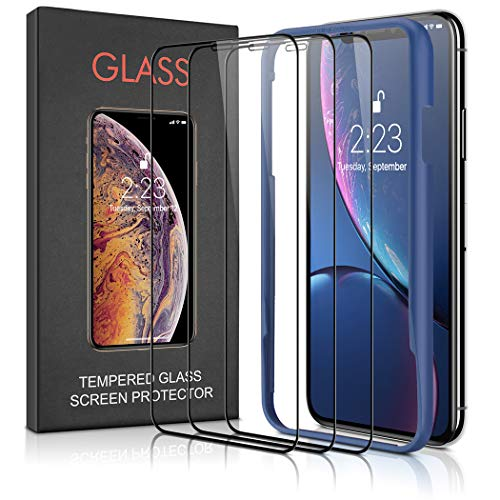 Besiva (3 Packs) Screen Protector Designed for iPhone XR 2018, Premium HD Clarity Edge to Edge Coverage Full Protection Tempered Glass Screen Protector for iPhone XR (Guidance Frame Included)