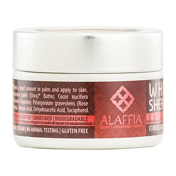 Alaffia - Whipped Shea Butter, 1.5 Ounces 7 100% FAIR TRADE: Feel good about how you are getting your products with 100% Certified Fair Trade Ingredients. PROTECT YOUR SKIN WITH A HANDCRAFTED FORMULA: Receive the full moisturizing and protective benefits of its unique fatty acid profile and Vitamins A and E with our traditionally handcrafted, unrefined shea butter. EVERYDAY FOR EVERYONE: Traditional formula suits all skin types.