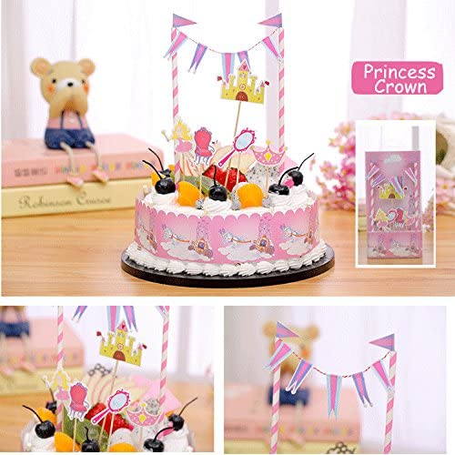 JoyGlobal Fairy Princess Castle Crown Chair Magic Mirror Happy Birthday Cake Banner Toppers Kit