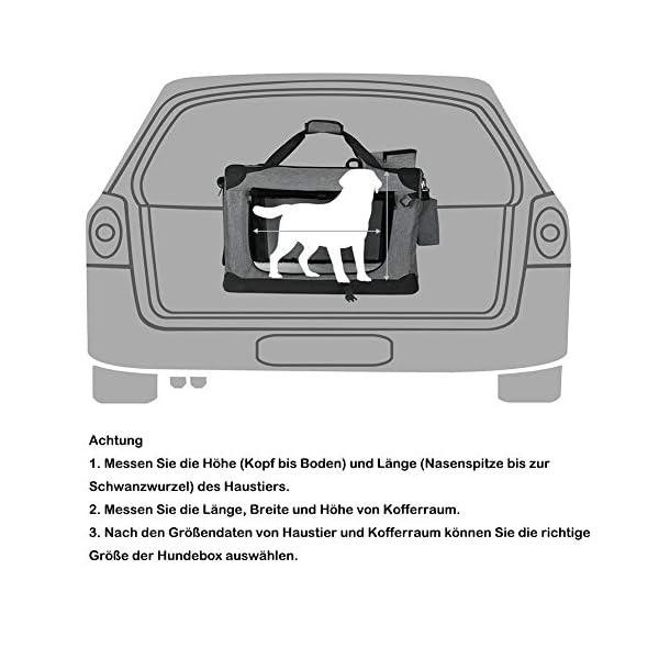 51fDesYb 9L EUGAD Hundebox faltbar Hundetransportbox Auto für Katzen Kätzchen Chihuahua Havaneser Welpen Grau S (49,5x34,5x35cm…