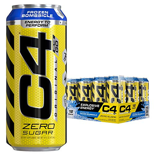 Cellucor C4 Original Carbonated Zero Sugar Energy Drink, Pre Workout Drink + Beta Alanine, Sparkling Frozen Bombsicle, 16 Ounce Cans (Pack of 12)