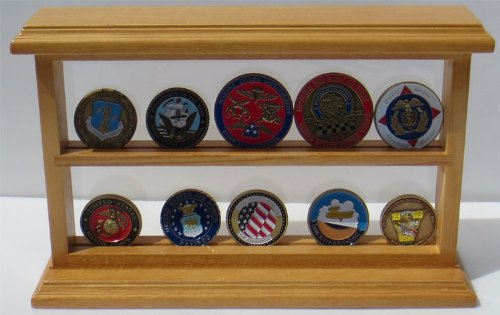Challenge Coin Display Case Standing Showcase, Solid Wood, (Oak Finish) Oak Challenge Coin
