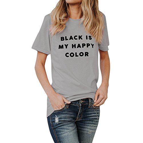 UOKNICE Blouses for Womens, Casual Black is My Happy Color Letter Pullovers T-Shirts Tees Tops Fuschia Pull Over Charmeuse Shop Gingham Overshirt Looking