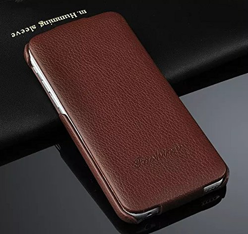 Big Mango Business Style Fashion Litchi Print Flip Genuine Leather Case and Wallet Cover for New Apple iPhone 6 with Flip Button Closure - Brown Fashioneey