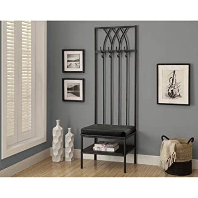 Hawthorne Ave Bench - Black Hammered Metal Hall Entry -  - hall-trees, entryway-furniture-decor, entryway-laundry-room - 51fDfnGtgGL. SS400  -