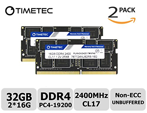 Timetec Hynix IC 32GB Kit (2x16GB) DDR4 2400MHz PC4-19200 Unbuffered Non-ECC 1.2V CL17 2Rx8 Dual Rank 260 Pin SODIMM Laptop Notebook Computer Memory RAM Module Upgrade (32GB KIT(2x16GB))