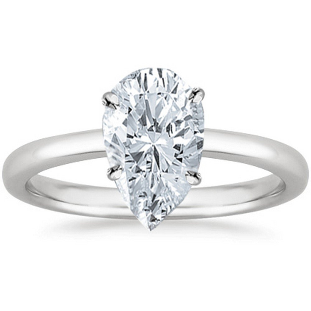 18K White Gold Pear Cut Solitaire Diamond Engagement Ring (0.75 Carat H-I Color SI2 Clarity)