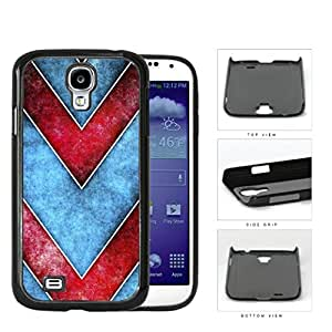 Large Chevron Blue/Red Grunge Hard Plastic Snap On Cell Phone Case Samsung Galaxy S4 SIV I9500