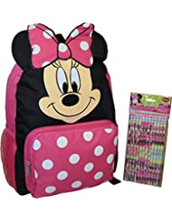 Disney Minnie Mouse Big Face 12 School Backpack & Bonus 12Pk Pencils