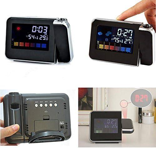 Jiam LCD multifuncional LED proyector digital de Reloj despertador ...