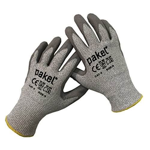 Pakel Y-01-08 High Performance En388 CE Level 5 Cut Resistant Knit Wrist Gloves (Size 8/Medium)