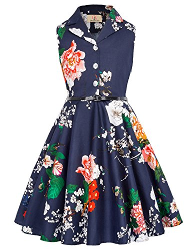 Girls Vintage Swing Garden Party Dresses with Belt 8-9yrs CL9000-8 -