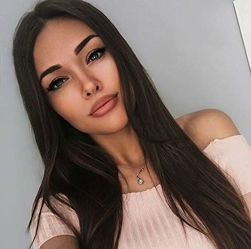 AISI HAIR Synthetic Long Full Wig Straight Black Hair Wigs for Black Women Middle Part Wig Natural Looking Wig Heat Resistant Wig (Full Synthetic Wig)