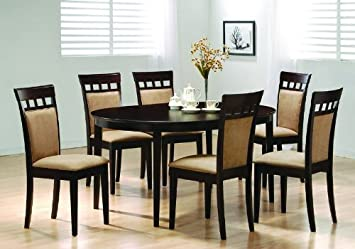 Coaster Home Furnishings Oval Dining Room Wood Table Chair Set Kitchen  Chairs