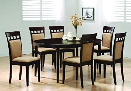Amazoncom Oval Dining Room Wood Table Chair Set Kitchen Chairs