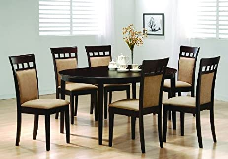Oval Dining Room Wood Table Chair Set Kitchen Chairs