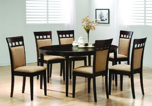 Amazon.com   Oval Dining Room Wood Table Chair Set Kitchen Chairs   Table U0026  Chair Sets