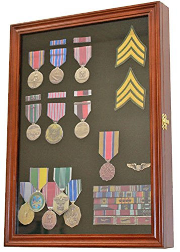 Military-Medals-Pins-Patches-Insignia-Ribbons-Display-Case-Wall-Frame-Cabinet-Walnut-Finish
