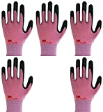 3M Lightweight Nitrile Work Gloves Supegrip200, 3D Comfort Stretch Fit, Durable Power Grip Foam Coated, Smart Touch, Thin Machine Washable, 5 Pairs Pack (Large, Pink)