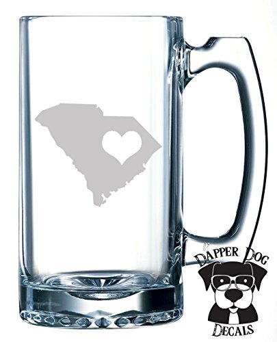 South Carolina Pride I Heart My State Art Personalized Custom Hand Etched Mug 25 oz Beer Stein Glass Cup Great Gift