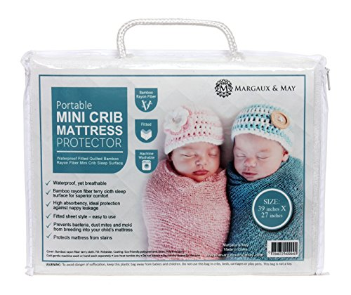 [Margaux & May Pack N Play Waterproof Mini Crib Mattress Pad Protector, Extra Deep Skirt, Fits All Portable Crib Sizes Includes Pack N Play, White] (N/a Mattress Pads)