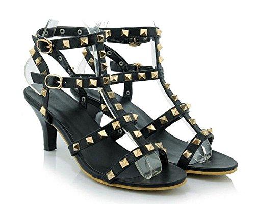 Ankle Fine Strap Heel Sandals Peep Roman Summer Women Charming Shoes Toe Big Rivets Shoes High Banquet Size Black New Rainbow Pumps EwBAtztq