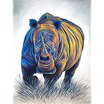 Artwu Animal rhino Wall Art Home Wall Decorations for Bedroom Living Room Oil Paintings Canvas Prints-952