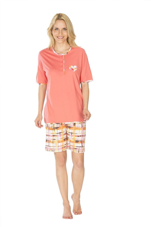 Damen Shorty Pyjama Schlafanzug Knopfleiste Kurzarm Kurze Hose auch bergren S M L XL XXL 3XL 4XL