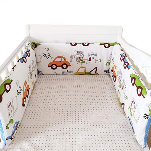 y Bedding Bumper in The Crib for Newborn Cotton Linen One-Piece Cot Bumper Baby Safety Bed Around Protector ()