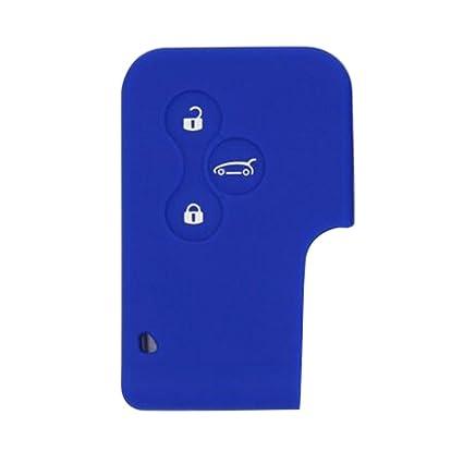 Happyit Silicona Coche Llave Remota Caso Cubri para Renault Megane RS Escénico 3 Botones Clave de Tarjeta Llave Inteligente (Azul)