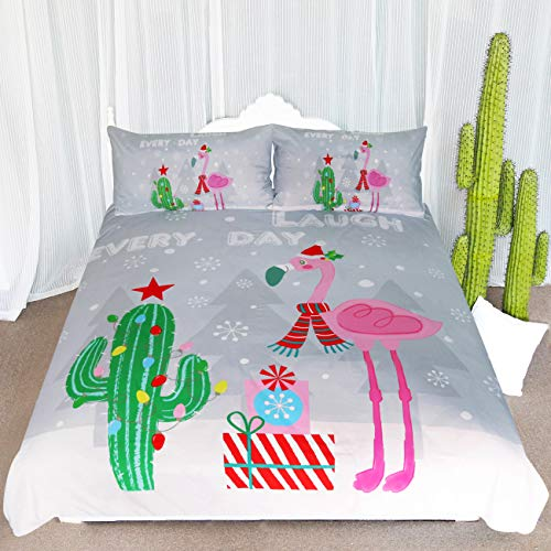 ARIGHTEX Merry Christmas Bedspread Queen Tropical Cactus Flamingos Pattern Bedding 3 Piece Grey Duvet Cover