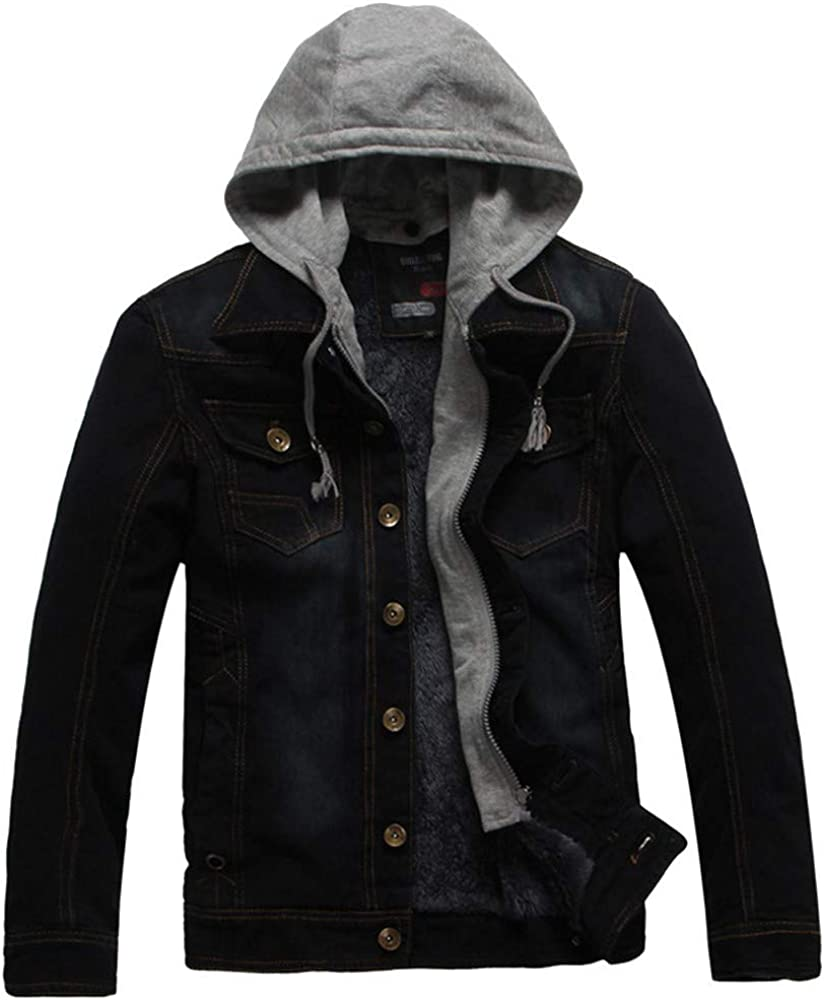 SPE969 Men's Hooded Denim Jacket, Autumn Winter Casual Hooded Wash Distressed Coat Top Blouse
