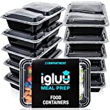 [10 Pack] 2 Compartment BPA Free Reusable Meal Prep Food Containers | Plastic Storage Trays with Airtight Lids | Microwavable, Freezer & Dishwasher Safe | Stackable Bento Lunch Box Sets | Bonus eBook
